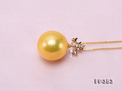 15.5mm Round Golden Freshwater Pearl Pendant FP353 Image 4