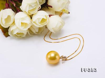 15.5mm Round Golden Freshwater Pearl Pendant FP353 Image 6