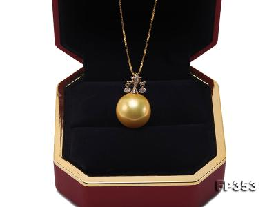 15.5mm Round Golden Freshwater Pearl Pendant FP353 Image 7