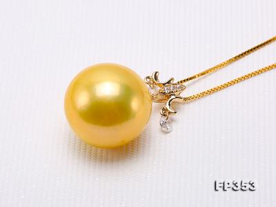 15.5mm Round Golden Freshwater Pearl Pendant FP353 Image 8