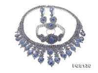 Luxurious Sapphire Necklace Bracelet Earring Ring Set in Sterling Silver FGS130
