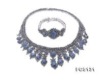 Luxurious Sapphire Necklace and Bracelet Set in Sterling Silver FGS131