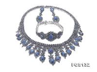 Luxurious Sapphire Necklace Bracelet Earring Set in Sterling Silver FGS132