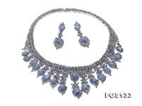 Luxurious Sapphire Necklace and Earring Set in Sterling Silver FGS133
