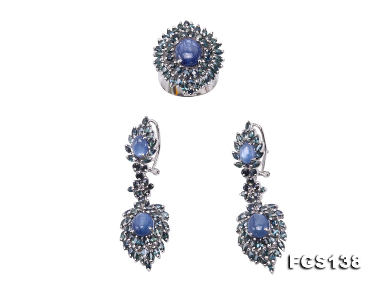 Luxurious Sapphire Ring and Earrings Set in Sterling Silver big Image 1