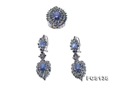 Luxurious Sapphire Ring and Earrings Set in Sterling Silver FGS138 Image 1