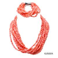 Charming Multi-strand Pink Coral Necklace & Bracelet Set CJS001