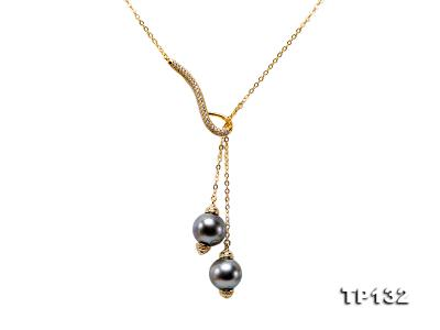 10mm Tahitian Black Pearl Pendant in Sterling silver TP132 Image 1