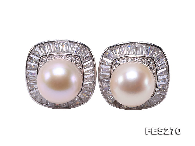 9.5mm White Round Freshwater Pearl Earring big Image 1