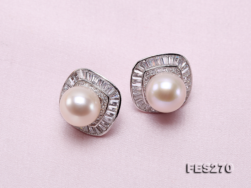 9.5mm White Round Freshwater Pearl Earring big Image 4