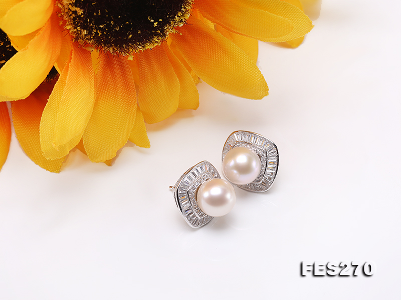 9.5mm White Round Freshwater Pearl Earring big Image 5