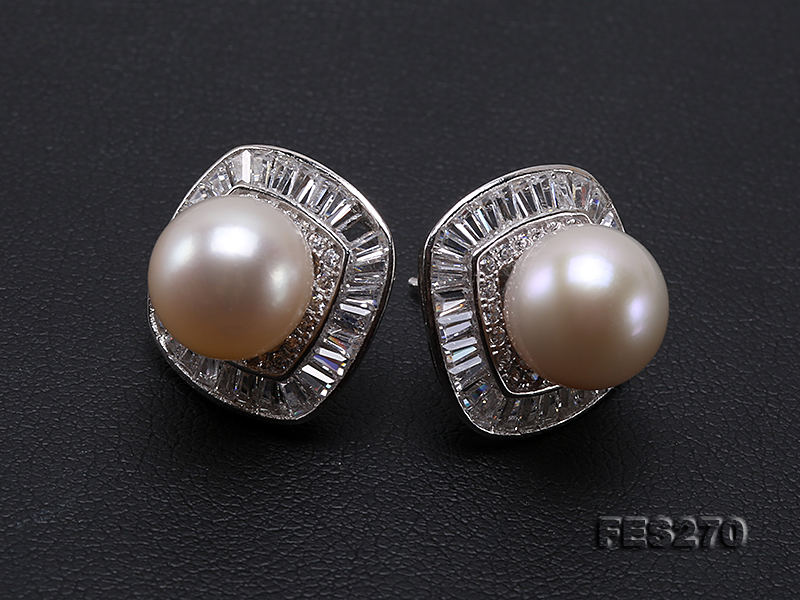 9.5mm White Round Freshwater Pearl Earring big Image 8