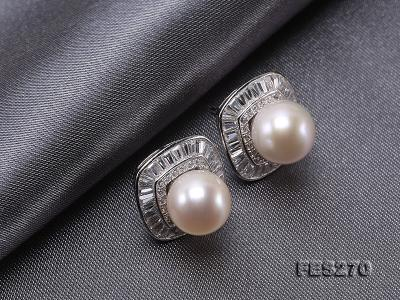 9.5mm White Round Freshwater Pearl Earring FES270 Image 7