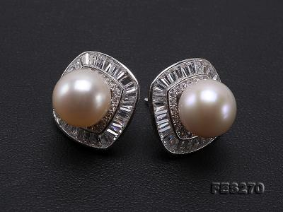 9.5mm White Round Freshwater Pearl Earring FES270 Image 8