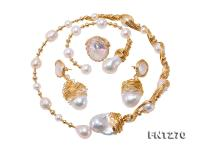 Customized 9k Gold with Baroque Freshwater Pearl Set  FNT270