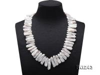 8.5×21-8.5×30mm White Biwa Freshwater Pearl Necklace FNI243