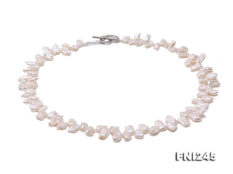 7×11mm White Biwa Freshwater Pearl Necklace big Image 7