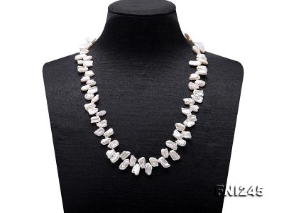7×11mm White Biwa Freshwater Pearl Necklace FNI245 Image 1