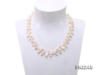 7×11mm White Biwa Freshwater Pearl Necklace FNI245 Image 2