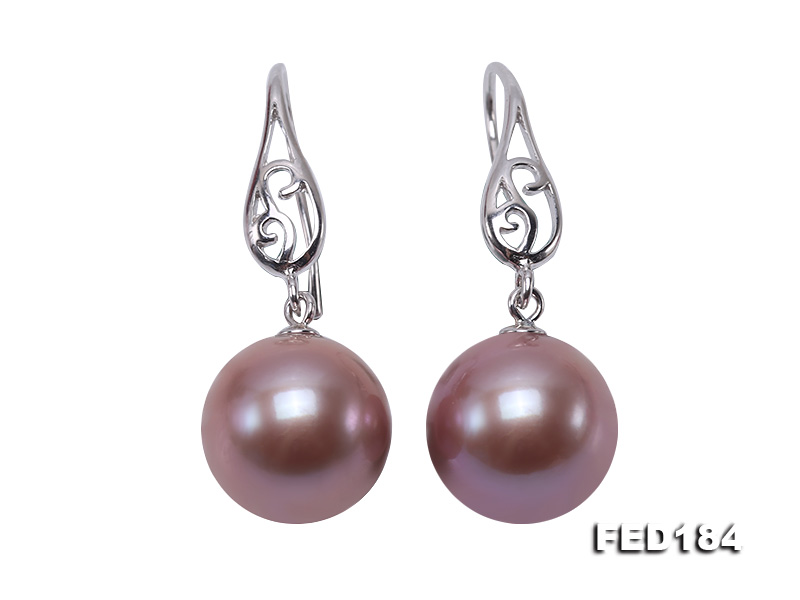 11.5mm Rich Lavender Round Edison Pearl Earring in Sterling Silver big Image 1