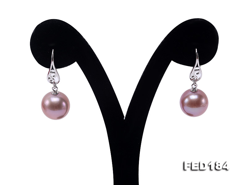 11.5mm Rich Lavender Round Edison Pearl Earring in Sterling Silver big Image 2