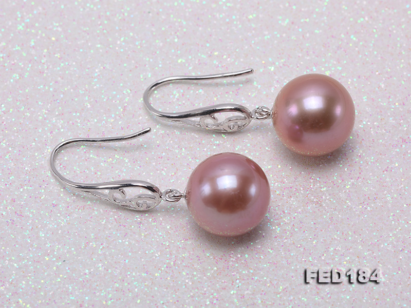 11.5mm Rich Lavender Round Edison Pearl Earring in Sterling Silver big Image 3