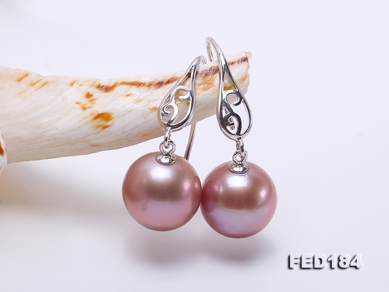 11.5mm Rich Lavender Round Edison Pearl Earring in Sterling Silver big Image 4