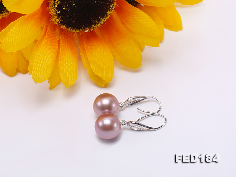 11.5mm Rich Lavender Round Edison Pearl Earring in Sterling Silver big Image 8