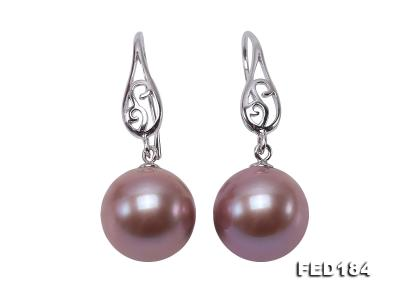 11.5mm Rich Lavender Round Edison Pearl Earring in Sterling Silver FED184 Image 1