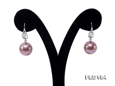 11.5mm Rich Lavender Round Edison Pearl Earring in Sterling Silver FED184 Image 2