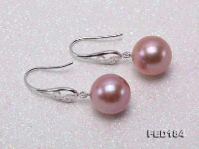 11.5mm Rich Lavender Round Edison Pearl Earring in Sterling Silver FED184 Image 3