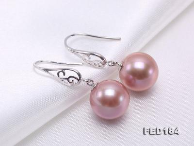11.5mm Rich Lavender Round Edison Pearl Earring in Sterling Silver FED184 Image 6
