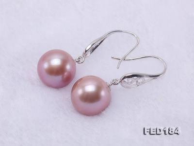 11.5mm Rich Lavender Round Edison Pearl Earring in Sterling Silver FED184 Image 7
