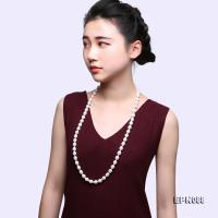 Classical 10-11mm White Oval Pearl Long Necklace  EPN088