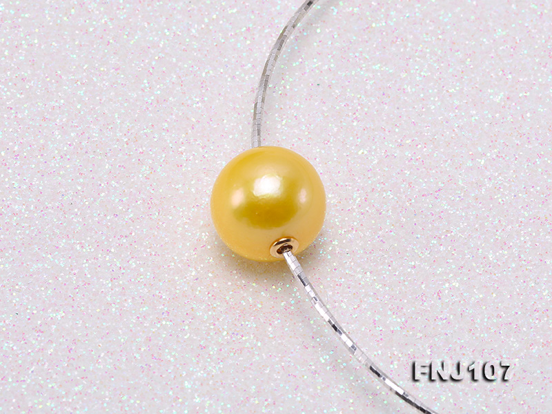 Chic 14mm Single-Pearl Necklace with Sterling Silver Chain big Image 5