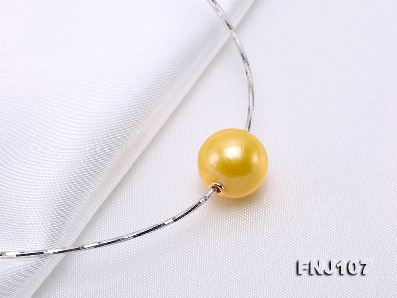 Chic 14mm Single-Pearl Necklace with Sterling Silver Chain big Image 6