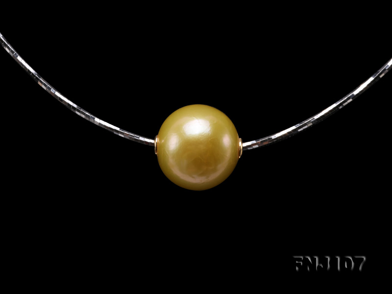 Chic 14mm Single-Pearl Necklace with Sterling Silver Chain big Image 7