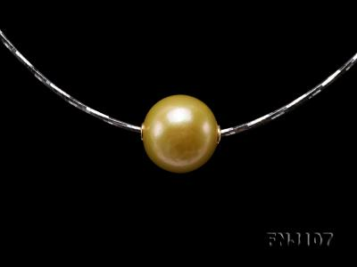 Chic 14mm Single-Pearl Necklace with Sterling Silver Chain FNJ107 Image 7