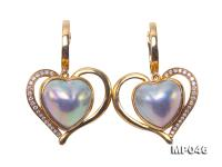 Luxurious 11.5x12mm Heart-shape Mabe Pearl Earrings in 18k Gold MP046