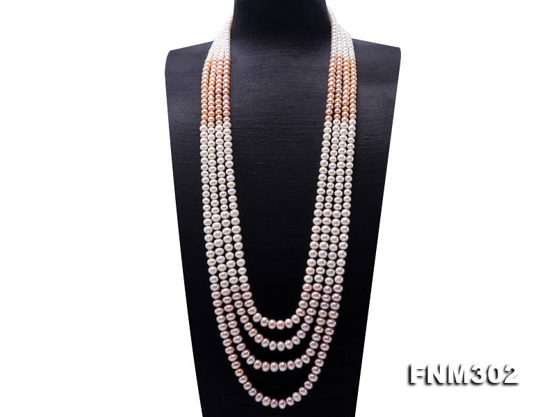 Classical 7-10mm Four-Strand White & Lavender Pearl Necklace big Image 1