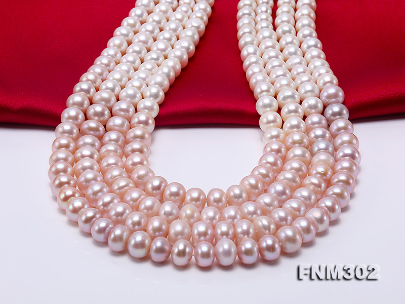 Classical 7-10mm Four-Strand White & Lavender Pearl Necklace big Image 2