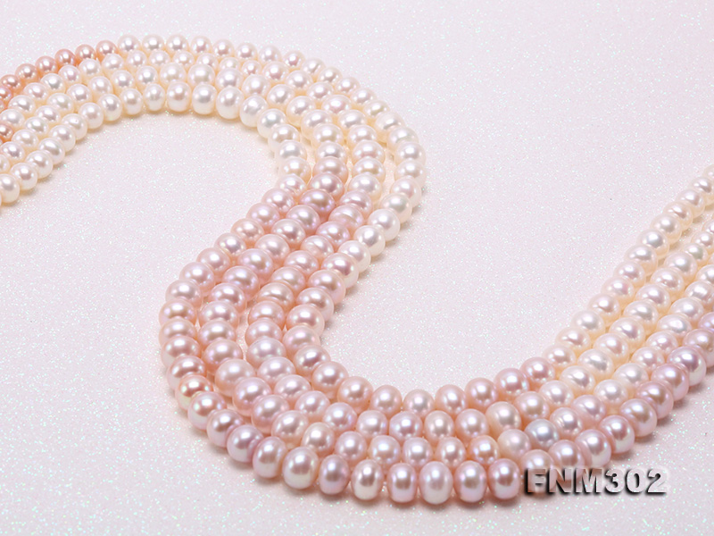 Classical 7-10mm Four-Strand White & Lavender Pearl Necklace big Image 5