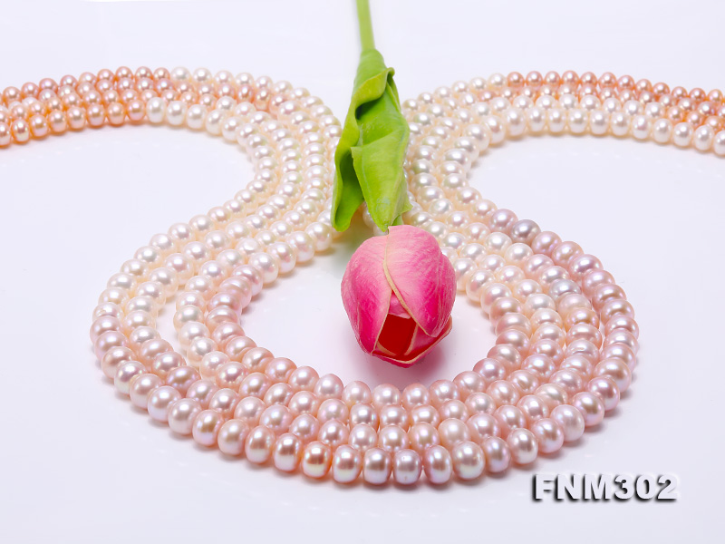 Classical 7-10mm Four-Strand White & Lavender Pearl Necklace big Image 6