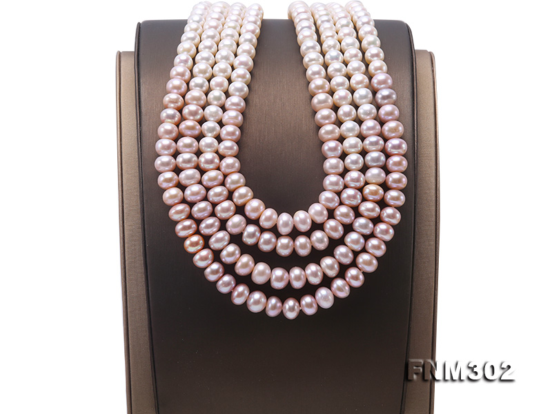 Classical 7-10mm Four-Strand White & Lavender Pearl Necklace big Image 7