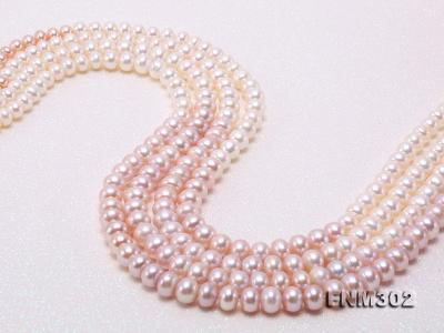 Classical 7-10mm Four-Strand White & Lavender Pearl Necklace FNM302 Image 5