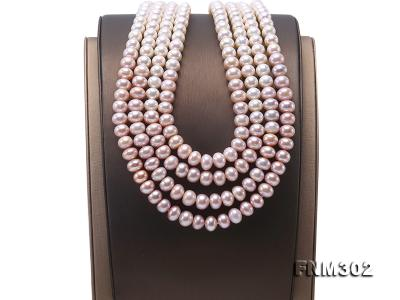 Classical 7-10mm Four-Strand White & Lavender Pearl Necklace FNM302 Image 7