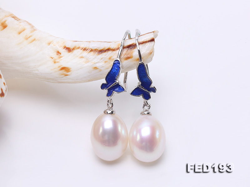 Classical 9.5x11.5mm White Oval Freshwater Pearl Earrings in Silver big Image 5