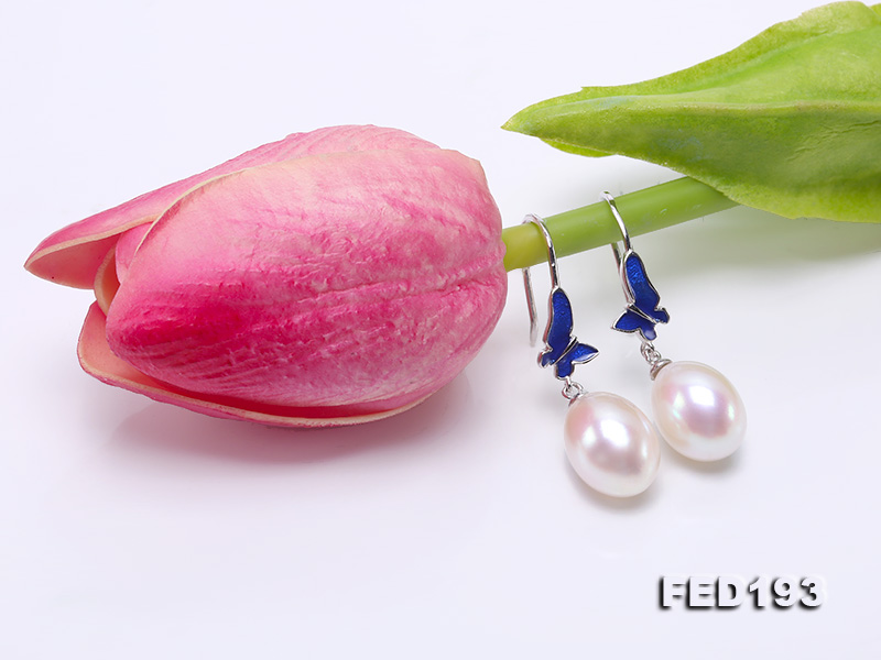Classical 9.5x11.5mm White Oval Freshwater Pearl Earrings in Silver big Image 6