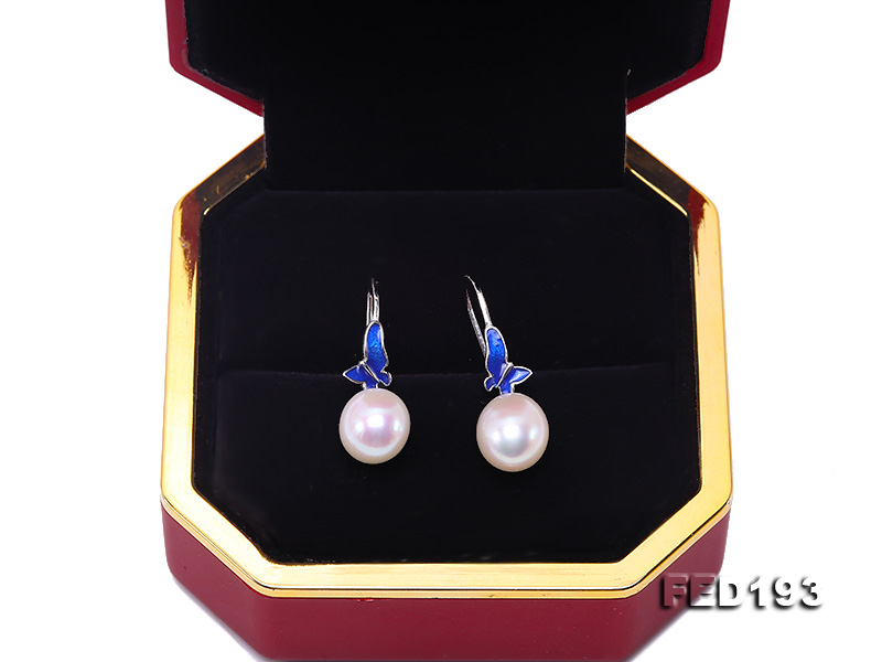 Classical 9.5x11.5mm White Oval Freshwater Pearl Earrings in Silver big Image 8