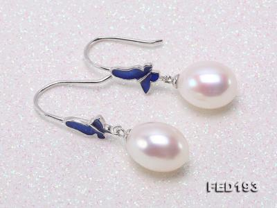 Classical 9.5x11.5mm White Oval Freshwater Pearl Earrings in Silver FED193 Image 4